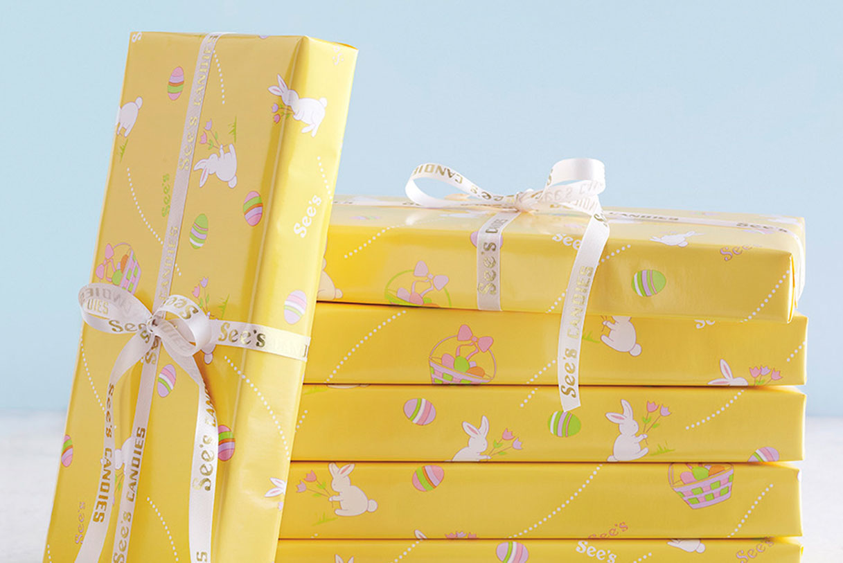 See's one pound boxes wrapped in Spring gift wrap
