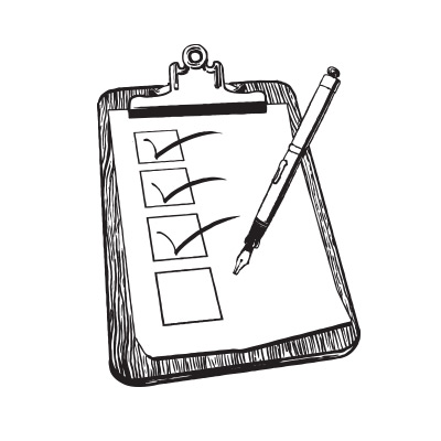 Illustration featuring a checklist on a clipboard