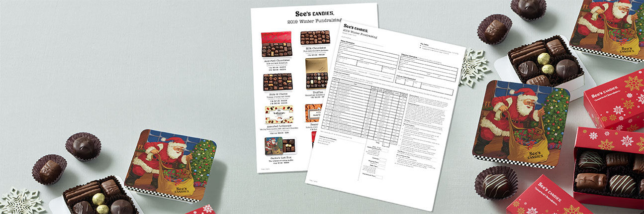 See's Candies Winter Fundraising Order Forms and Chocolates
