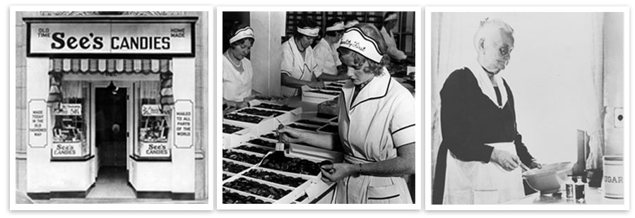 See's Candies storefront, candy packing employees, and Mary See