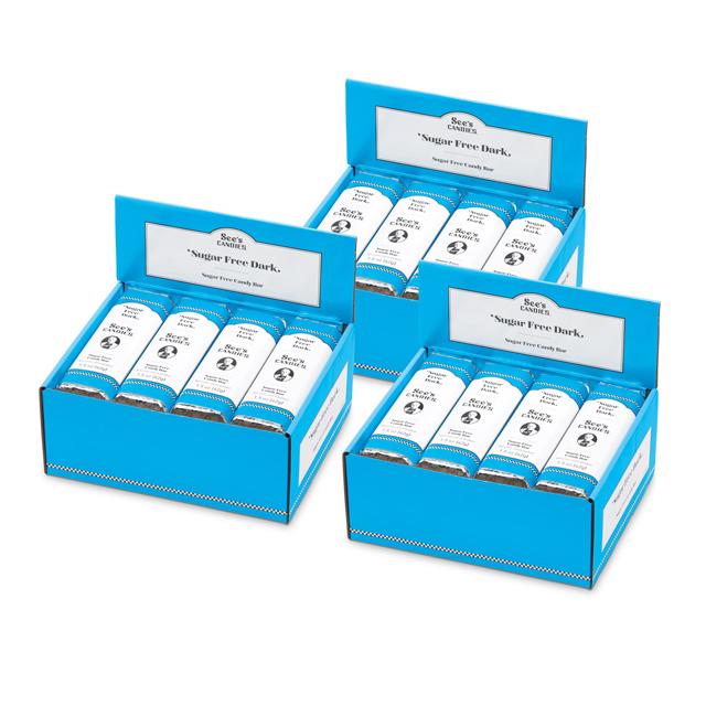 1 Carton (72 bars) of 1.5 oz Sugar Free Dark Bars